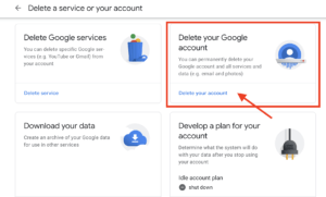 "Click ""Delete your Google account""."